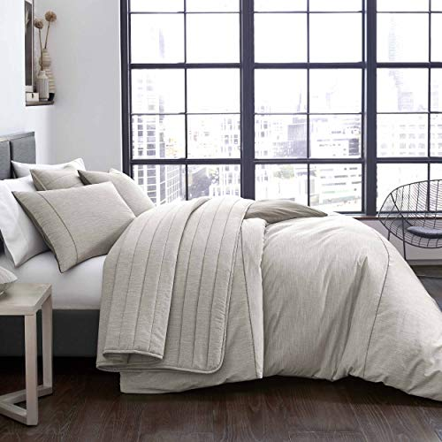 City Scene Pixel Duvet Cover Set, King, Grey