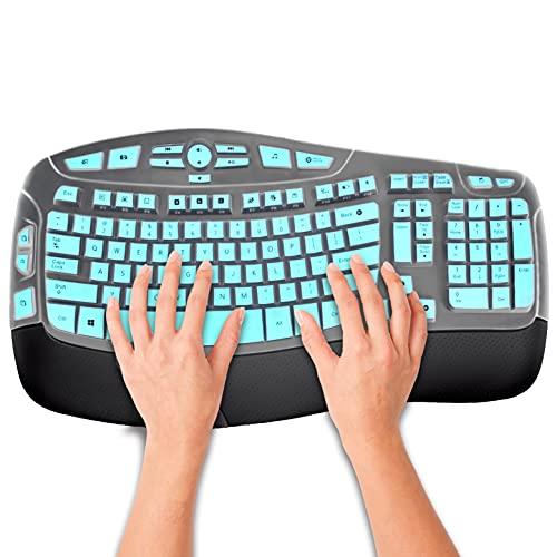 KUCHEY Keyboard Cover Skin for Logitech MK550, Logitech K350 MK550 MK570 Wireless Wave Accessories, Ultra Thin Silicone Logitech Keyboard Cover Protector Skin, Mint