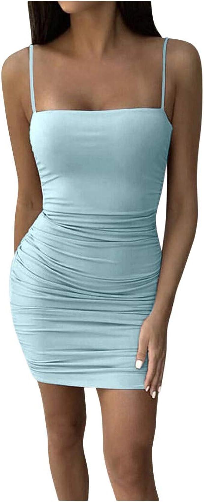 Ywlink Damen Sommer Sling Kurzes Minikleid Kleider Strappy Figurbetontes Kleid Abendkleider Party Club Einfarbig 7 Farbe Amazon De Bekleidung