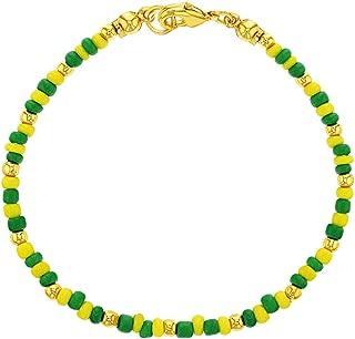 14k Gold Plated Green Yellow Beaded Santeria Babalawo Unisex Orula Bracelet