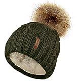 TOSKATOK Damen Chunky weichen Kabel Stricken Hut mit gemütlichem Fleecefutter und abnehmbarem Kunstpelz Pompom-Olive