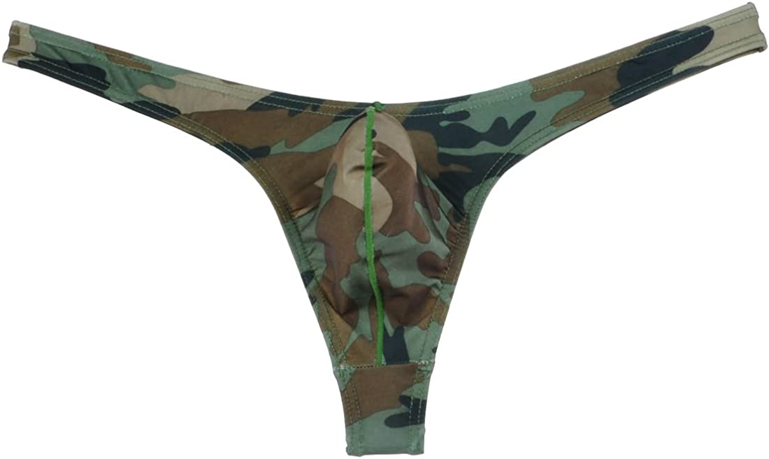 Mens Camo Camouflage manches courtes T-shirt Hauts Pouch Thong Underwear Set