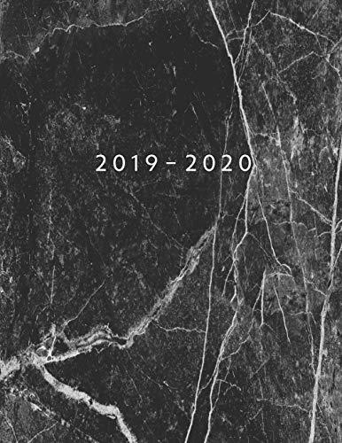 Agenda MAYO 2019 - ABRIL 2020: Vista Semanal con Horario | 1 Semana en 2 Páginas | 12 Meses Planificador y Calendario | 21.59x27.94 cm | 8.5'x11' | Black Marble