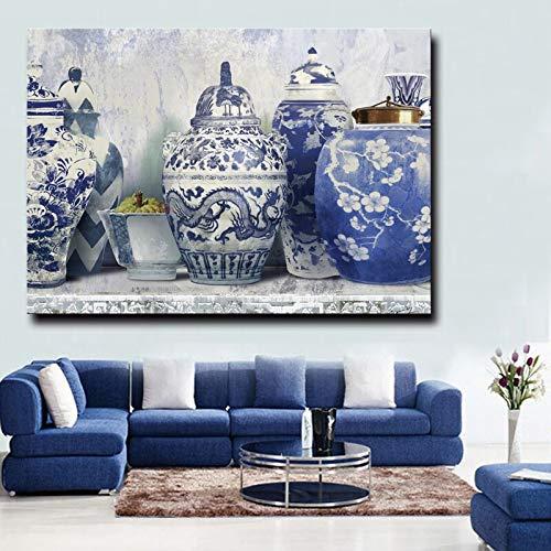 sanzangtang Frameless schilderij muurschildering cijfers op canvas mooie vaas HD prints Chinese klassieke stijl kunst poster decoratie frameless schilderij