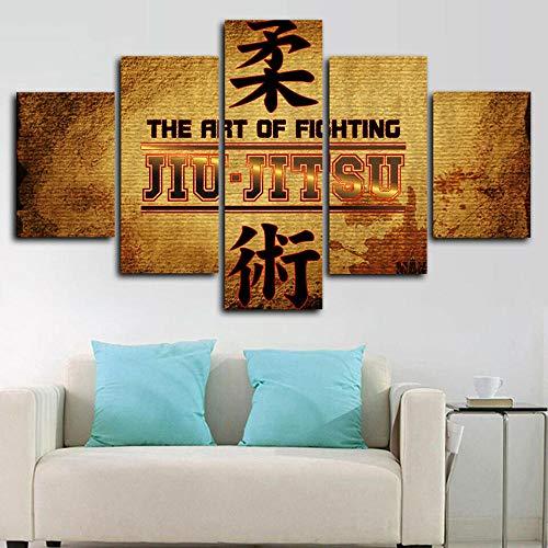 YOPLLL Cuadros De Lienzo Decoración para El Hogar 5 Piezas Paintings Wall Art Prints Modern Poster Modular Bed Background Gimnasio Brasileño De Jiu-Jitsu(Sin Marco)