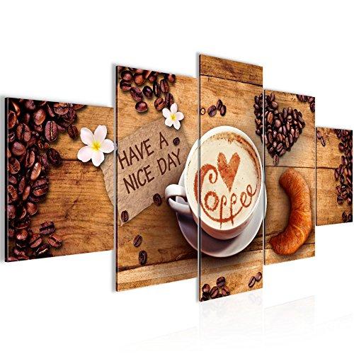 Bilder Küche Kaffee Wandbild 200 x 100 cm Vlies - Leinwand Bild XXL Format Wandbilder Wohnzimmer Wohnung Deko Kunstdrucke Braun 5 Teilig - MADE IN GERMANY - Fertig zum Aufhängen 501251a
