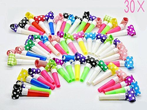 Syoo 30 x Luftrüssel Tröte Pfeife Set, Gastgeschenk Spielzeug zum Geburtstag Kinder Party Garten Party Karneval Weihnachten Neujahr, Farben zufällig