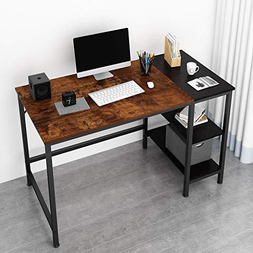 Joiscope - Escritorio para computadora de oficina en casa, pequeño escritorio de estudio con estante de madera para almacenamiento, mesa industrial de 2 niveles para laptop con...