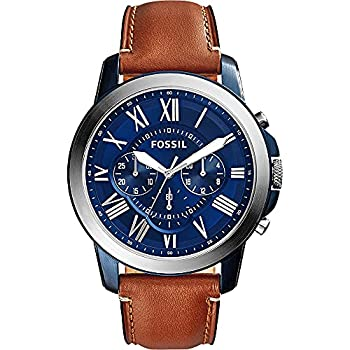 Fossil Men s Grant Quartz Stainless Steel and Leather Chronograph Watch Color  Silver/Blue Luggage  Model  FS5151