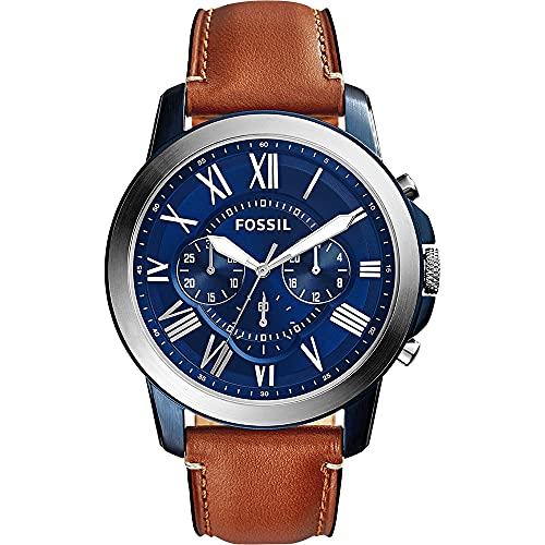 Fossil Men's Grant Quartz Stainless Steel and Leather Chronograph Watch, Color: Silver/Blue, Luggage (Model: FS5151)