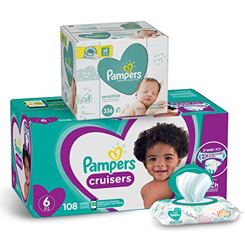 Diapers Size 6, 108 Count and Baby Wipes - Pampers Cruisers Disposable Baby Diapers and Water Baby Wipes Sensitive Pop-Top Packs, 336 Count