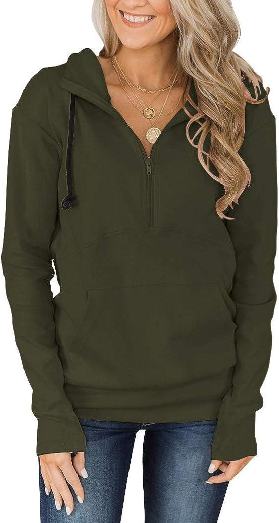 Fallorchid Womens Quarter Zip Pullover Genuine Free Shipping Long Sleev Casual Hoodies San Antonio Mall