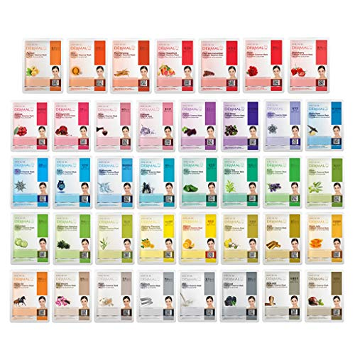 DERMAL 39 Combo Pack Collagen Essence Full Face Facial Mask Sheet - The Ultimate Supreme Collection for Every Skin Condition Day to Day Skin Concerns....