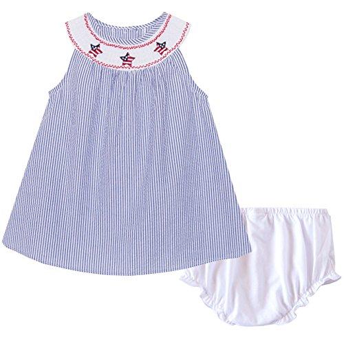 Good Lad Navy Seersucker July 4th Smocked Collar Dress (3/6M)