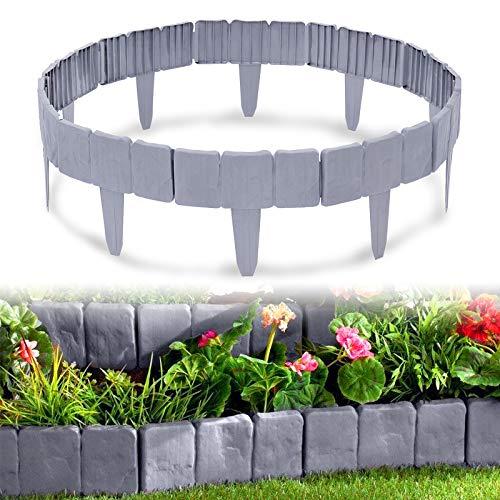 HENGMEI Rasenkante in Steinoptik 7,5m Beetumrandung Mähkante 30 stücke Randsteine Kunststoff Beeteinfassung Gartenzaun 1 Element (L x H): 25cm x 23cm, Grau
