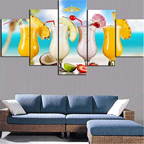 zmdnl Marco de Dormitorio para Estudiantes, Pintura en Lienzo Impresa en HD, 5 Piezas, Cartel de Jugo de Frutas Tropicales de Verano para Sala de Estar, Decorativo para el hogar