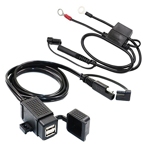 MOTOPOWER MP0609EA-UK 3.1Amp Wasserdicht Motorrad Dual USB Ladegerät Kit Telefon Tablet GPS Ladegerät mit SAE Ring Terminal Kabel