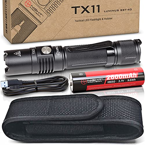 TX11 Tactical Flashlight With Duty Belt Holster & USB Rechargeable Battery Luminus 1600 Lumens LED For Police Security Military Grade Brightest Tac Flashlights