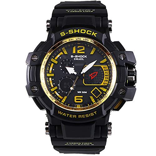 Herren Sportuhren LED Digital 50M wasserdichte beiläufige Uhr S Shock Male Clock Uhr für Mann,Rosegold