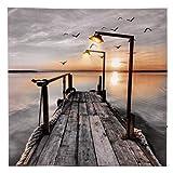TIMER LED Bild Leinwand mit Steg am See, Wandbild, Ein/Aus Schalter, Leuchtbild batteriebetrieben