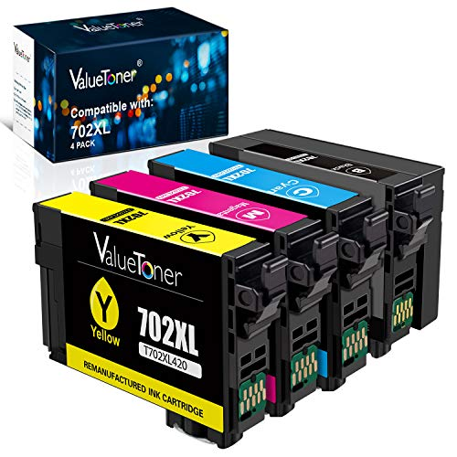 Valuetoner Remanufactured Ink Cartridges Replacement for Epson 702 702 XL 702XL to use with Workforce Pro WF-3720 WF-3733 WF-3730 Printer (1 Black, 1 Cyan, 1 Magenta, 1 Yellow, 4 Pack)