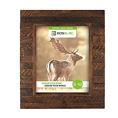 EosGlac Wooden Picture Frame, 8 x 10 Rustic finish Wood Plank Design, 100% Premium Handmade (8x10, Brown)