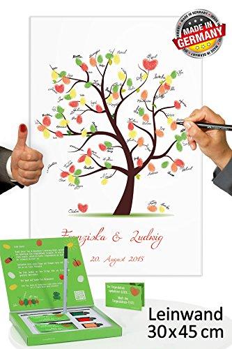Fingerabdruck Baum Leinwand 45x30 mit NAMEN & DATUM - INKL Zubehör-Set (Stempelkissen+Stift+Anleitung+Hochzeitsbuch+...) GRATIS - Hochzeitsbaum Fingerabdruck Gäste - Wedding Tree Leinwand