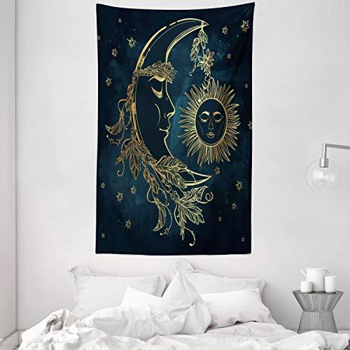 ABAKUHAUS Psicodélico Tapiz de Pared y Cubrecama Suave, Luna Creciente con Plumas Boho Alquimia Magia Mito Egipcio Diseño, Colores Firmes y Durables, 140 x 230 cm, Azul Petróleo