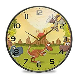 Non-Ticking Silent Battery Operated Forest with Volcano Cartoon Dinosaurs Wall Clock Living Room Desk Clock