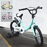 BTdahong 16 Pulgadas Bicicleta para Niños, Bicicleta Infantil con Rueda Auxiliar, Bicicleta de Niño con Pedal (Green)