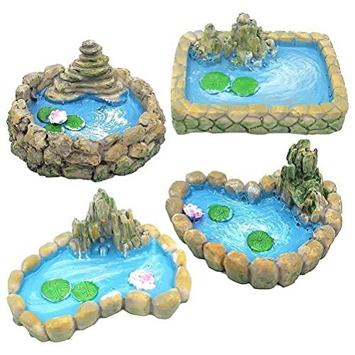 HEXLONG 4 stuks ask tankdecoraties miniatuur tuinvijver decoratie hars handwerk ornament accessoires voor thuis landschap aquarium ask tank terras visvijver