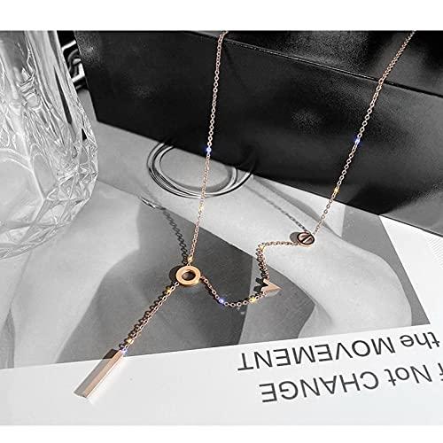 YIKOUQI Collar de Gargantilla de Cadena de clavícula Elegante para Mujer, Collar con Colgante de Letras delicadas para Mujer, Collar de joyería de Moda, Regalo