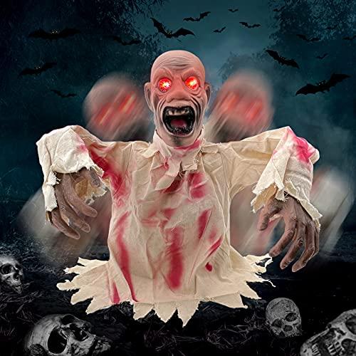 DITAIX Zombie di Halloween Decorazione, Ghost Attivato, Occhi Luminosi e Voce Inquietante Decorazione da Esterno Halloween Gli Zombi Salgono dalla Terra per Decorare Il Giardino di Halloween