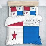 695 Juego de ropa de cama con la bandera de Panamá, 3 piezas, decoración para dormitorio, (1 funda de edredón y 2 fundas de almohada), Super King