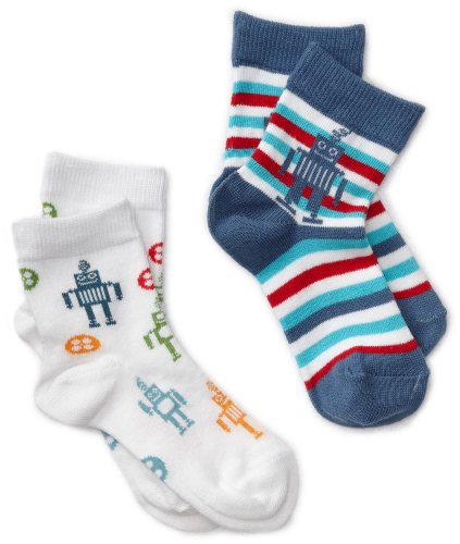 Country Kids Baby Boys' Robot 2 Pair Socks, White/Blue, 12 24 Months