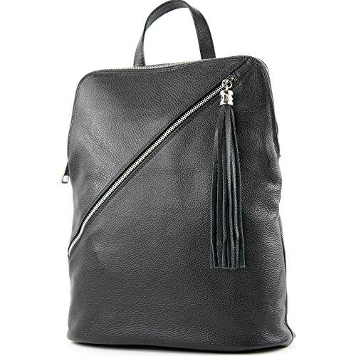 modamoda de - T161- ital Damen Rucksacktasche 3in1 aus Leder, Farbe:T161 Schwarz