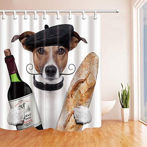 LRSJD Dieren Decor Hond met Rode Wijn en Brood Douche Gordijn 71X71 inch Polyester Stof Badkamer Fantastische Decoraties Bad Gordijnen Haken Inbegrepen