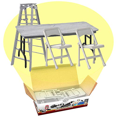 Ultimate Ladder, Table and Chairs Silver Playset for WWE Wrestling Action Figures