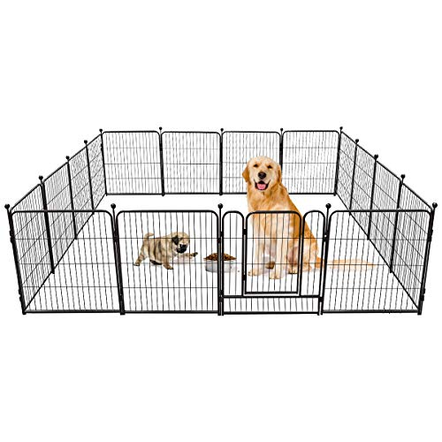 TOOCA Dog Pen 16 Panels 32' Height RV Dog Fence Playpens Exercise Pen for Dogs, Metal, Outdoor, Protect Design Poles, Foldable Barrier with Door,...
