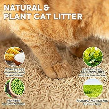 Petnf Litière pour chat en tofu naturelle pour chat Grattant litière pour chat sans poussière non parfumée Ultra Odor Control Pellets biodégradables pour chat Multichat