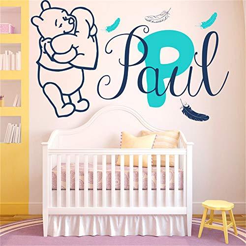 Winnie The Pooh Wandtattoo Aufkleber Wandtattoos Baby Federn Vinyl Aufkleber Custom personalisierte Namen Baby Girl Boy Geschenk Kinderzimmer Zimmer Deocration