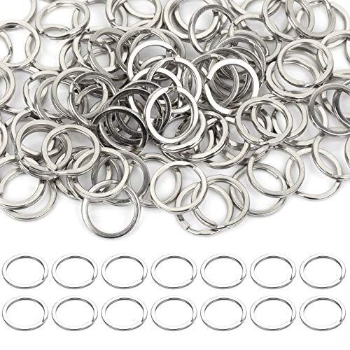 FANDAMEI 100 Pcs 15 mm Key Chain Rings Bulk for Crafts, 0.59 Inch Mini Split Key Ring for Jewelry, Stainless Steel Nickel Plated Key Rings Bulk, Silver Metal Key Chain Rings Small Flat Key Rings Bulk