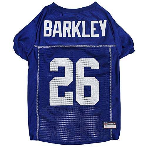 Pets First NFL New York Giants Dog Jersey Logo & Color with NFLPA SAQUON BARKLEY's Name. Size: X-Small