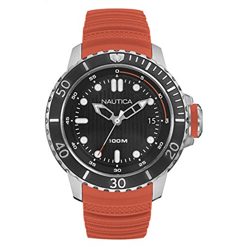 Nautica Herren Analog Quarz Uhr mit Silikon Armband NAD18518G