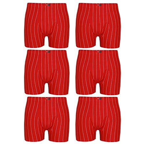 ReKoe 6er Pack Herren Boxershorts Übergrößen Pants Unterhose Boxer Rot Baumwolle Slip, Größe:3XL