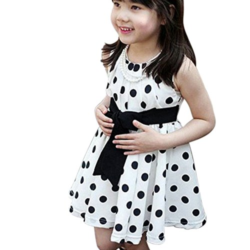 Weixinbuy Kids Girls Polka Dot Chiffion Sundress Bowknot Belt Dress White