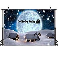 HiYash 7x5ft 写真背景クリスマステーマシームレス写真布写真背景ツリーエルク誕生日パーティー装飾バナー美しい記憶記録を持つ家の装飾