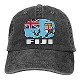 cgo Fiji Flag Football Rugby Player Men's Women's Adjustable Baseball Caps Denim Fabric Trucker Cap Casquettes, Bonnets et Chapeaux