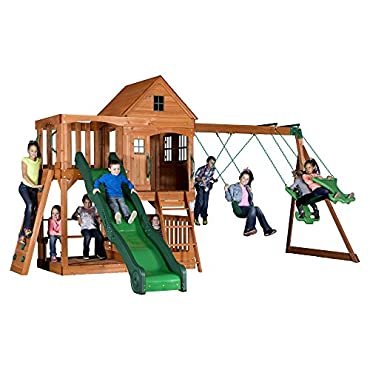 Backyard Discovery Pacific View All Cedar Wood Playset Swing Set 30015