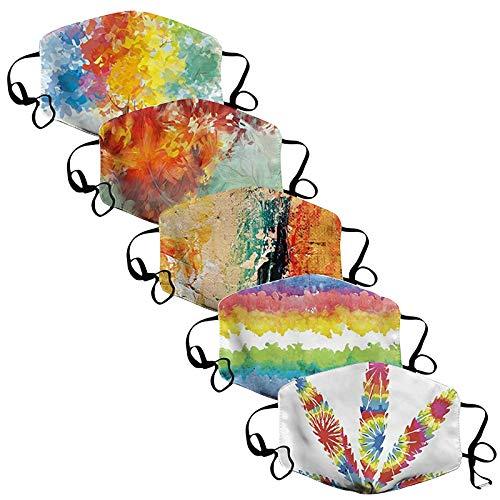 BOIYI 5 Unidades De__Reutilizable Lavable Antipolvo con Estampado de Tie Dye Accin de Gracias, Las_Mascarillas_ para Adultos Adecuadas para Cenas Al Aire Libre(Multicolor,5PC)